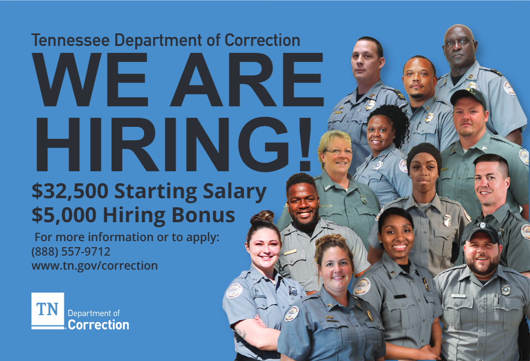"Department of correction ""we are hiring"""