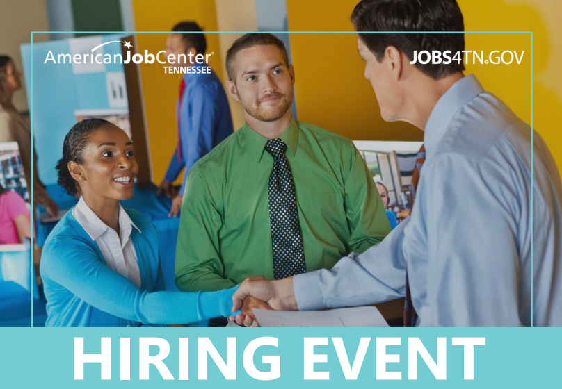 Three people greeting each other at a hiring event